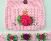 Crochet Headband and Purse Set for Children - Rosy Pink