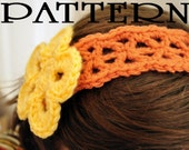 Crochet Headband Pattern in Jasmine Motif with Large Flower - PDF - All sizes included
