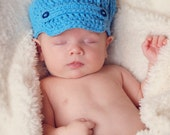 Crochet Beanie Hat, Newspaper Boy Style - Blue - Newborn - other sizes and more colors available