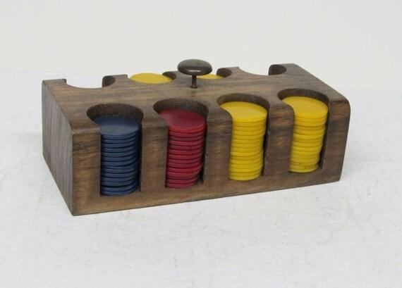 REDUCED - Vintage Mini Poker Chip Set in Wooden Rack - SALE