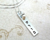 Hebrew Necklace - Shalom - Peace - Sterling Silver Bar - Hand Stamped Jewelry - Judaica - Pearl Accent