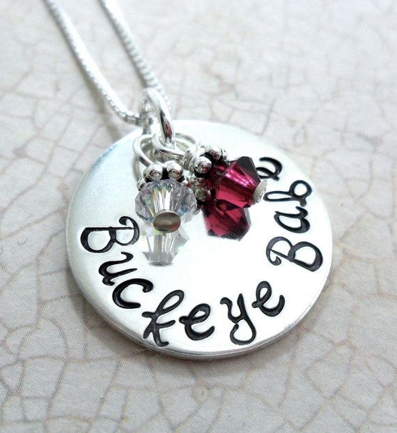 ohio state necklace buckeye sterling by sarahbhandcrafted