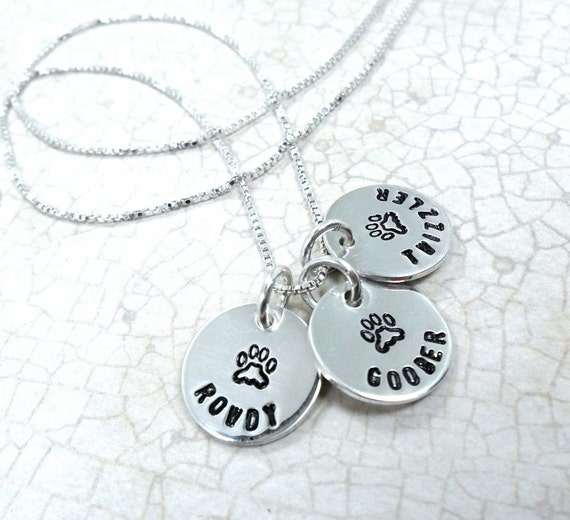 Pet Necklace | Custom Pet Jewelry | Pet Name Jewelry | Paw Print Jewelry | Gift for Pet Lover | Pet Lover Gift | Paw Print Necklace