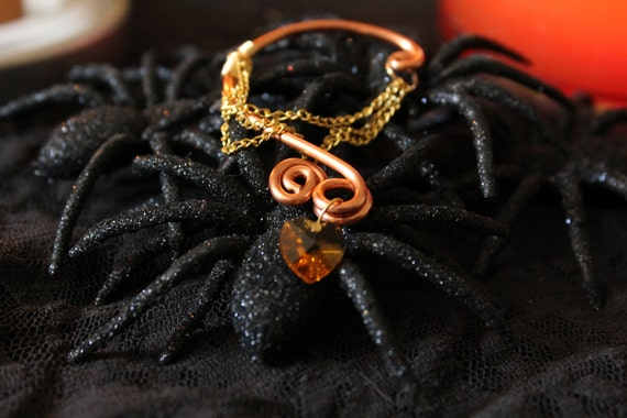Halloween Time Copper Color Crystal and Gold Ear Bend