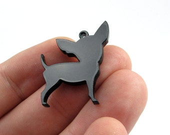 Chihuahua Dog Charms, Qty. 4, Laser cut black acrylic bits