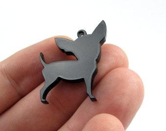Chihuahua Dog Charms, Qty. 8, Laser cut black acrylic bits