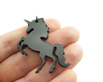 Unicorn pendants, Qty. 2, Laser cut black acrylic bits