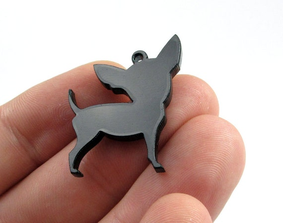 Chihuahua Dog Charms, Qty. 4, Laser cut black acrylic bits