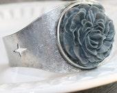 Cuff Bracelet Antique Silver with Grey Rose bracelet, silver bracelet, wide cuff, adjustable bracelet, metal bracelet, gray cuff