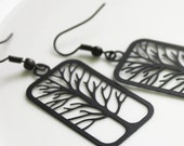 Tree Earrings - Laser Cut Jet Black Tree Silhouette