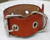 Leather Cuff Bracelet - Belt Style - Brown - Adjustable - Upcycled
