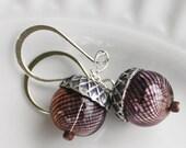 Acorn Earrings - Blown Glass Earrings, Bead Earrings - Silver Plated Earrings, woodland earrings, woodland jewelry, fall earrings, autumn