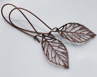 Leaf Earrings - Antiqued Copper - Long Kidney Earwires, woodland earrings, woodland jewelry, nature earrings, skeleton leaf, copper leaf