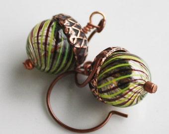 Acorn Earrings - Blown Glass Beads - Copper Findings, woodland earrings, acorn jewelry, fall earrings
