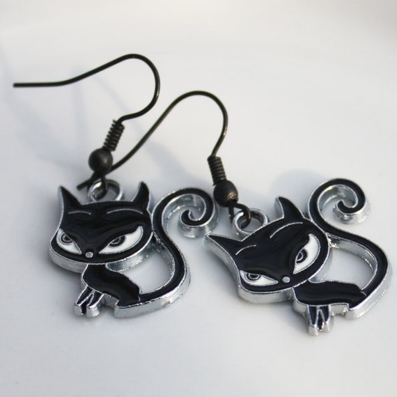 Halloween Earrings - Black Cat - Kawaii Kitty