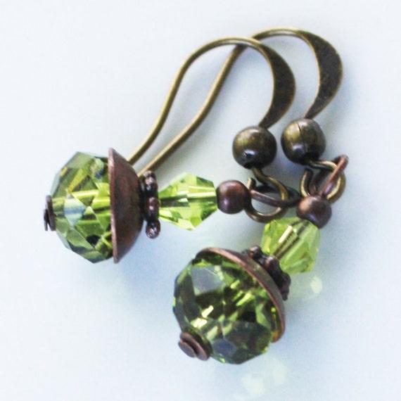 Green Faceted Bead Earrings - Antiqued Brass Findings, green earrings, brass earrings, dainty earrings, delicate earrings, irish earrings