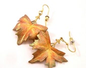 Sycamore leaf leather earrings