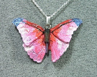 Pink Leather Butterfly Necklace