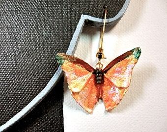 Yellow leather butterfly earrings