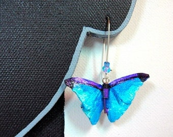 Blue Iridescent Leather Butterfly earrings