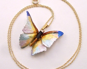 Iridescent white leather butterfly necklace
