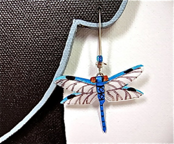 Blue dragonfly earrings/ Illuminated Leather