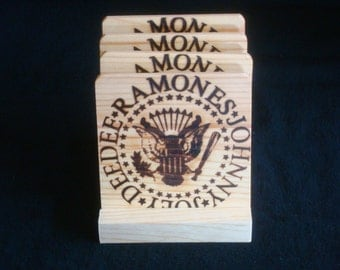Ramones Coasters -Burned Image -If Desired Mix and Match 4 different designs       See Gomez Carvings Shop and add a note
