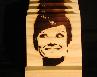 Audrey Hepburn Coasters, Burned Image -If Desired Mix and Match 4 different designs       See Gomez Carvings Shop and add a note
