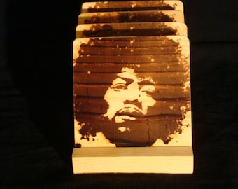 Jimi Hendrix Coasters,Burned Image -If Desired Mix and Match 4 different designs       See Gomez Carvings Shop and add a note