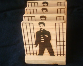 Elvis Coasters,Burned Image -If Desired Mix and Match 4 different designs       See Gomez Carvings Shop and add a note
