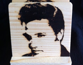 Elvis Coasters - Burned Image -If Desired Mix and Match 4 different designs       See Gomez Carvings Shop and add a note