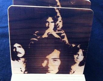 Led Zepplin Coasters - Burned Image -If Desired Mix and Match 4 different designs       See Gomez Carvings Shop and add a note