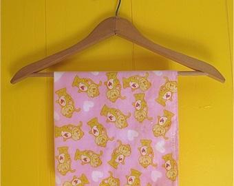 Hearts and Monkeys Cute 1980's Bandana Pink and Yellow