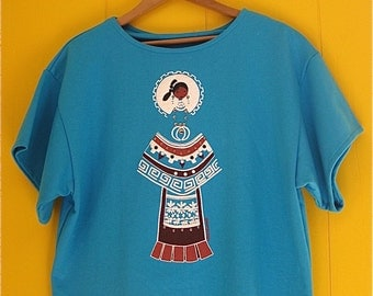 Boxy Turquoise Short sleeved Sweater Native Inspired LIDA