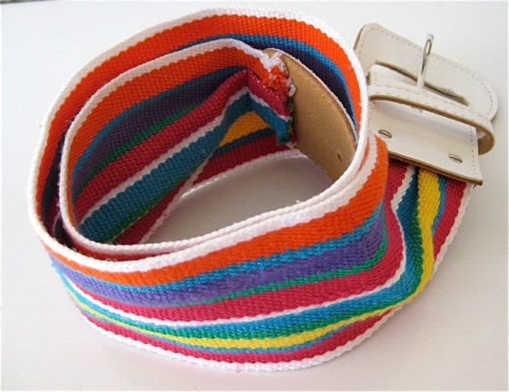 Rainbow Bright Belt it up Woven Rainbow Fabric Belt with White Pleather Buckle