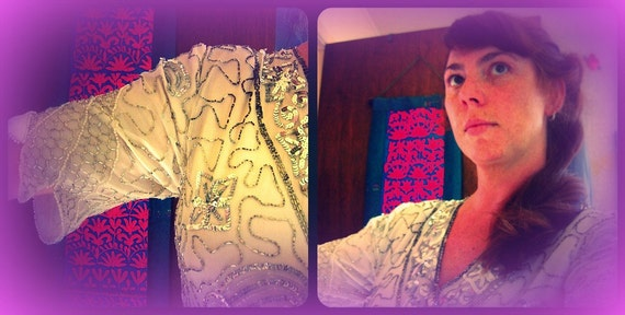 Tan-Chho Sequined and Beaded Silk Blouse
