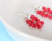 Red Drops - Cluster Earrings