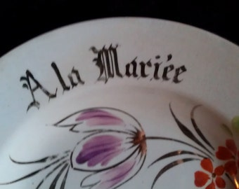 """Vintage French """"to the bride"""" """"A la Mariee"""" White  plate"""