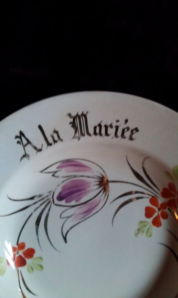 "Vintage French ""to the bride"" ""A la Mariee"" White  plate"