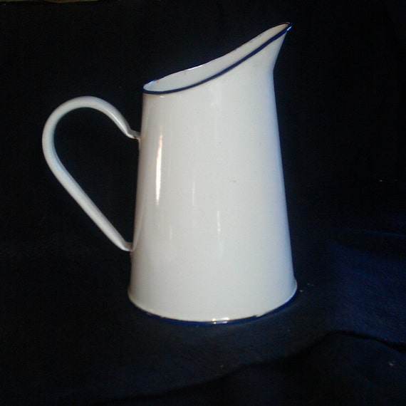 French antique enameled pitcher