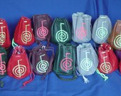 Shaman reiki drawstring medicine bag pouch  UV embroidered  energy symbol Cho Ku Rei handmade  leather & suede Harry Potter