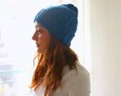 Blue beanie Hat handknitted soft  handmade gifts under 50