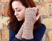 Mocca Nougat Brown Hand knit Fingerless Gloves soft Acrylic Yarn Handmade