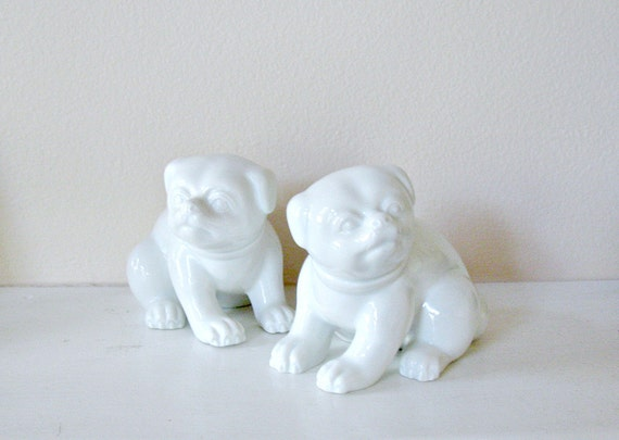 Fitz and Floyd Pair of Pug Dog Figurines in White Ceramic