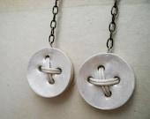 medium ivory button earrings, clay