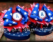 Patriotic Boutique style 4th of July monogrammed flip flops red white and blue with stars Size  5 or 7 toddler