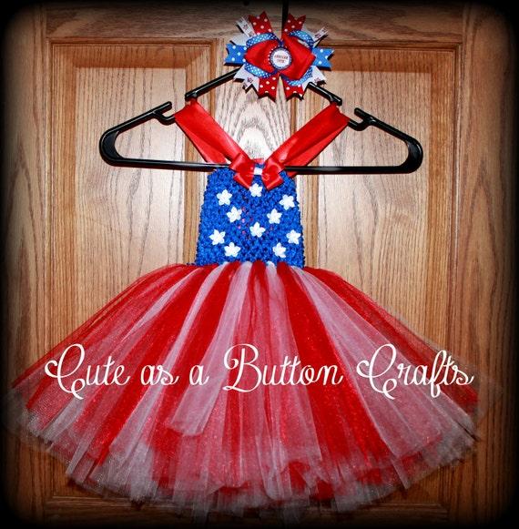 Adorable Patriotic tutu dress Babys first fourth of July dress with Coordinating boutique Bow 3 mon 6 mon, 9 mon, 12 mon, 18 mon, 24 mon