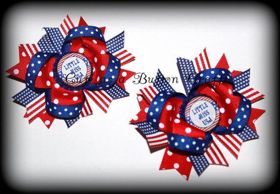 4th of July Set of Two Small Piggie Boutique Patriotic Fourth of July Hair Bows Perfect for Summer Little Miss USA