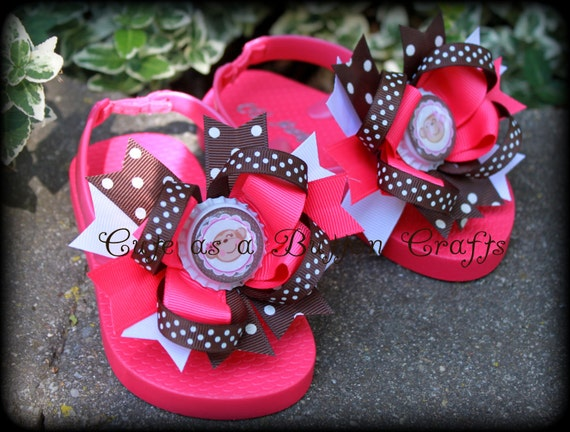Silly little monkey Boutique style flip flops Hot pink white and brown Size 5 6 7 8 9 10 toddler