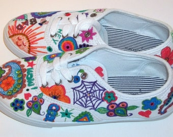 Canvas Girls With Swarovski Crystals Shoes Size 2